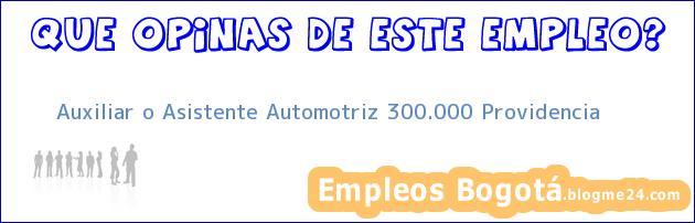 Auxiliar o Asistente Automotriz 300.000 Providencia