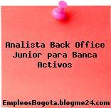 Analista Back Office Junior para Banca (Activos)
