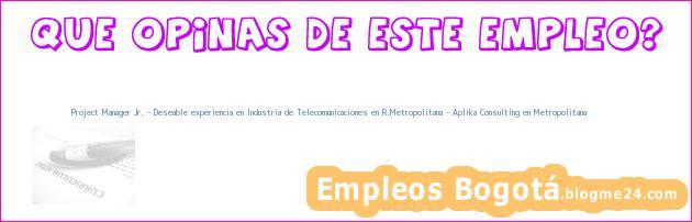 Project Manager Jr. – Deseable experiencia en Industria de Telecomunicaciones en R.Metropolitana – Aplika Consulting en Metropolitana