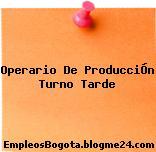 Operario De ProducciÓn Turno Tarde