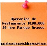Operarios de Restaurante $196.000 30 hrs Parque Arauco