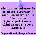 Técnico en enfermería de nivel superior – para Reemplazo en La Florida en R.Metropolitana – Clinica Hogar Buena Salud SPA