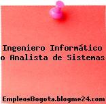 Ingeniero Informático o Analista de Sistemas