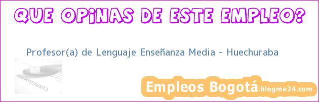 Profesor(a) de Lenguaje Enseñanza Media – Huechuraba