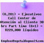(O.281) – Ejecutivos Call Center de Atención al Cliente 30 hrs Part time (6×1) – $229.000 líquidos