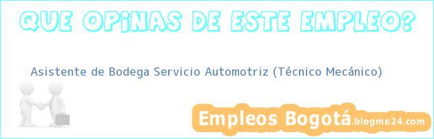 Asistente de Bodega Servicio Automotriz (Técnico Mecánico)