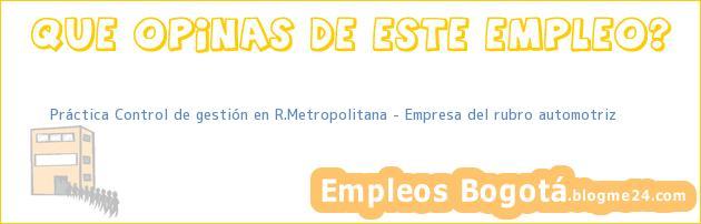 Práctica Control de gestión en R.Metropolitana – Empresa del rubro automotriz