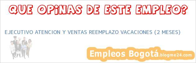 EJECUTIVO ATENCION Y VENTAS REEMPLAZO VACACIONES (2 MESES)