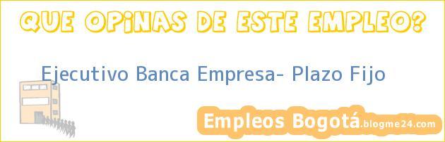 Ejecutivo Banca Empresa- Plazo Fijo