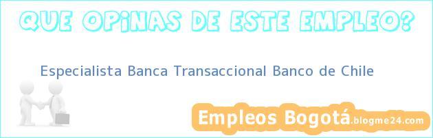 Especialista Banca Transaccional Banco de Chile