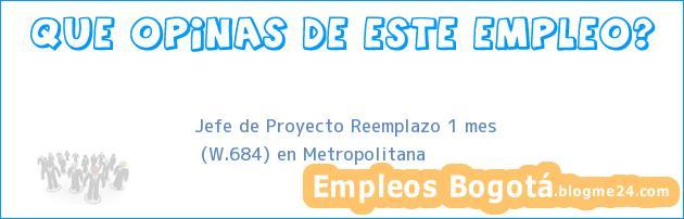 Jefe de Proyecto Reemplazo 1 mes   (W.684) en Metropolitana