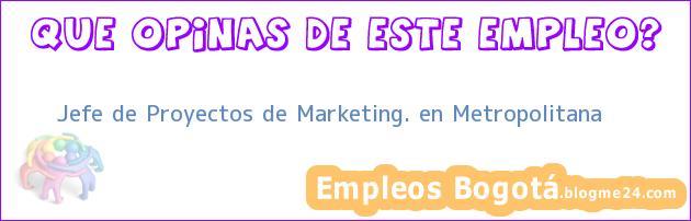 Jefe de Proyectos de Marketing. en Metropolitana
