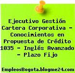 Ejecutivo Gestión Cartera Corporativa – Conocimientos en Propuesta de Crédito 1035 – Inglés Avanzado – Plazo Fijo