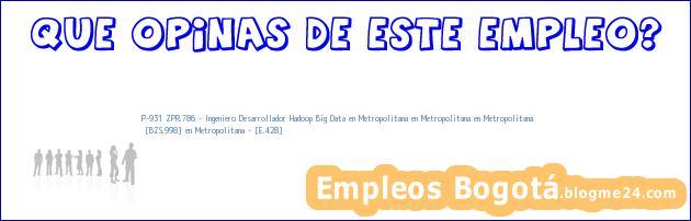 P-931 ZPR.786 – Ingeniero Desarrollador Hadoop Big Data en Metropolitana en Metropolitana en Metropolitana   [BZS.998] en Metropolitana – [E.428]