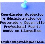 Coordinador Academico y Administrativo de Postgrado y Desarrollo Profesional Puerto Montt en Llanquihue
