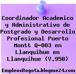 Coordinador Academico y Administrativo de Postgrado y Desarrollo Profesional Puerto Montt Q-083 en Llanquihue en Llanquihue (V.950)