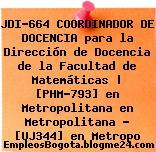 JDI-664 COORDINADOR DE DOCENCIA para la Dirección de Docencia de la Facultad de Matemáticas | [PHM-793] en Metropolitana en Metropolitana – [UJ344] en Metropo