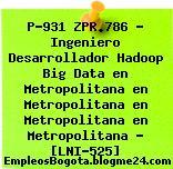 P-931 ZPR.786 – Ingeniero Desarrollador Hadoop Big Data en Metropolitana en Metropolitana en Metropolitana en Metropolitana – [LNI-525]