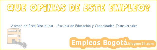 Asesor de Área Disciplinar – Escuela de Educación y Capacidades Transversales