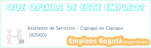 Asistente de Servicios – Copiapó en Copiapo | (BZ000)