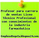 Profesor para carrera de ventas Liceo Técnico Profesional con conocimientos de la industria farmacéutica