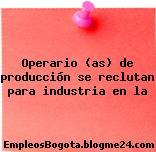 Operario (as) de producción se reclutan para industria en la