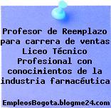 Profesor de Reemplazo para carrera de ventas Liceo Técnico Profesional con conocimientos de la industria farmacéutica