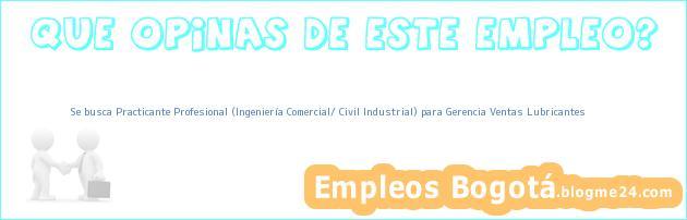 Se busca Practicante Profesional (Ingeniería Comercial/ Civil Industrial) para Gerencia Ventas Lubricantes