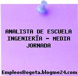 ANALISTA DE ESCUELA INGENIERÍA – MEDIA JORNADA
