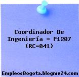 Coordinador De Ingeniería – P1207 (RC-041)