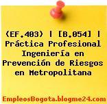 (EF.403) | [B.054] | Práctica Profesional Ingeniería en Prevención de Riesgos en Metropolitana