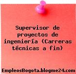 Supervisor de proyectos de ingeniería (Carreras técnicas a fin)