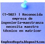 (T-502) | Reconocida empresa de ingeniería-maestranza necesita maestro técnico en matricer