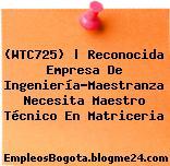 (WTC725) | Reconocida Empresa De Ingeniería-Maestranza Necesita Maestro Técnico En Matriceria