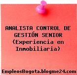 Analista Control De Gestión Senior (Experiencia En Inmobiliaria)