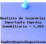 Analista de Tesorería; Importante Empresa Inmobiliaria – X.284