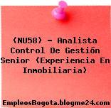(NU58) – Analista Control De Gestión Senior (Experiencia En Inmobiliaria)
