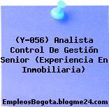 (Y-056) Analista Control De Gestión Senior (Experiencia En Inmobiliaria)