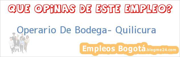 Operario De Bodega Quilicura