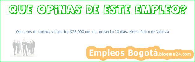 Operarios de bodega y logistica $25.000 por dia, proyecto 10 dias, Metro Pedro de Valdivia