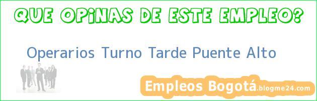 Operarios Turno Tarde Puente Alto