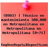 (B983) | Técnico en mantenimiento 380.000 en Metropolitana en Metropolitana en Metropolitana [A-71]