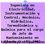 Ingeniero en Electricidad, Instrumentación y Control, Mecánica, Hidráulica, Termodinámica y Química para el cargo de Jefe de Mantenimiento en Planta G – [F.280]