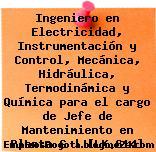 Ingeniero en Electricidad, Instrumentación y Control, Mecánica, Hidráulica, Termodinámica y Química para el cargo de Jefe de Mantenimiento en Planta G | [LK.614]