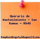 Operario de Mantenimiento – San Ramon – R849