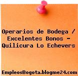 Operarios de Bodega / Excelentes Bonos – Quilicura Lo Echevers
