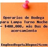 Operarios de Bodega para Lampa Turno Noche – $400.000, más Bus de acercamiento