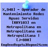 X.948] – Operador de Mantenimiento Redes Aguas Servidas [RRY103] en Metropolitana en Metropolitana en Metropolitana | [J-880]