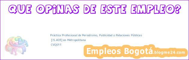 Práctica Profesional de Periodismo, Publicidad o Relaciones Públicas | [IS.403] en Metropolitana | CVQ011