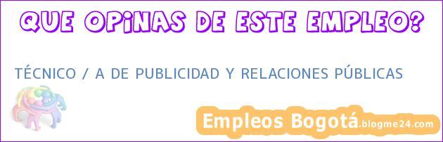 TÉCNICO / A DE PUBLICIDAD Y RELACIONES PÚBLICAS